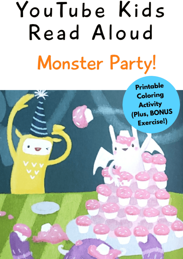 YouTube Kids Read Aloud – Monster Party! (Printable Coloring Activity)